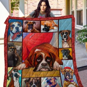 Boxer Cute Boxer Beautiful Dogs Quilt Blanket Great Customized Blanket Gifts For Birthday Christmas Thanksgiving