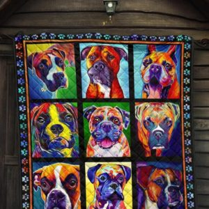 Boxer Colorful Boxer Cute Quilt Blanket Great Customized Blanket Gifts For Birthday Christmas Thanksgiving
