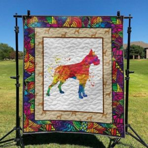 Boxer Dog Colorful Dogs Beautiful Dog Quilt Blanket Great Customized Blanket Gifts For Birthday Christmas Thanksgiving