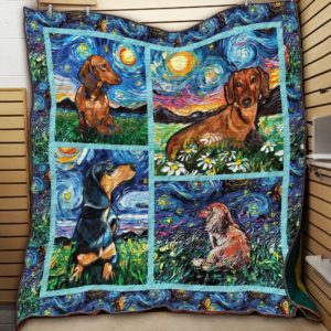 Dachshund Starry Night Colorful Painting Quilt Blanket Great Customized Blanket Gifts For Birthday Christmas Thanksgiving