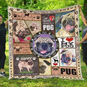 Pug Dogs I Love My Pug Quilt Blanket Great Customized Blanket Gifts For Birthday Christmas Thanksgiving