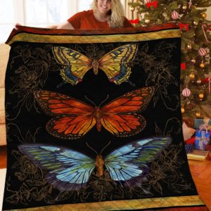 Vintage Butterfly Quilt Blanket Great Customized Blanket Gifts For Birthday Christmas Thanksgiving