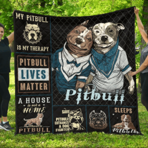 Pitbull Couple Beautiful Pitbull Lives Matter My Pitbull Is My Therapy Quilt Blanket Great Customized Blanket Gifts For Birthday Christmas Thanksgiving