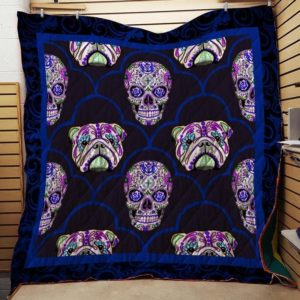 English Bull Dog Skull Quilt Blanket Great Customized Blanket Gifts For Birthday Christmas Thanksgiving