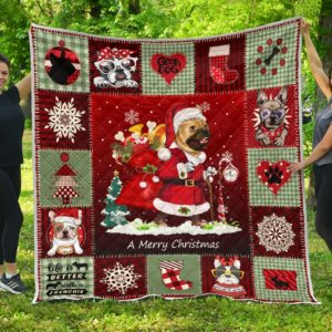Merry Christmas French Bulldog Wearing Santa Claus's Uniform Quilt Blanket Great Customized Blanket Gifts For Birthday Christmas Thanksgiving