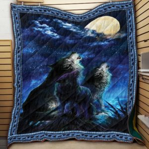 Wolf Moon In Dark Night Wolf Couple Howling At Moon Night Quilt Blanket Great Customized Blanket Gifts For Birthday Christmas Thanksgiving