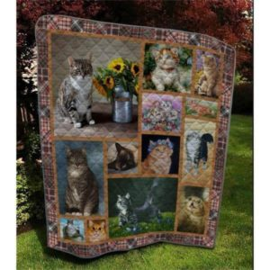 Cat Sitting Beside Sunflowers Cats Walking Cute Kitten Quilt Blanket Great Customized Blanket Gifts For Birthday Christmas Thanksgiving