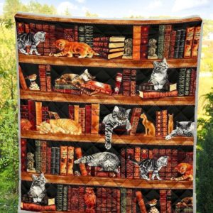 Cats On Bookshelf Funny Quilt Blanket For Cat And Book Lovers Great Customized Blanket For Birthday Christmas Thanksgiving Graduation Wedding Anniversary