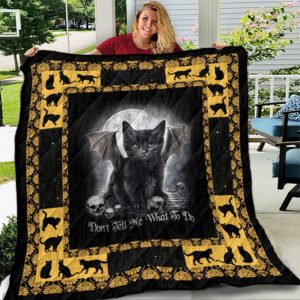 Black Cat Don't Tell Me What To Vampire Cat With Fang And Wings Quilt Blanket Great Customized Blanket Gifts For Birthday Christmas Thanksgiving