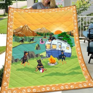 Doberman Dogs Go Camping Campfire Quilt Blanket Great Customized Blanket Gift For Birthday Christmas Anniversary