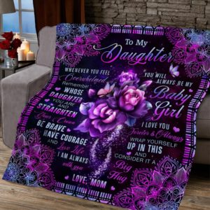 Personalized To My Daughter Straighten Your Crown From Mom Roses Mandala Quilt Blanket Great Customized Blanket Gifts For Birthday Christmas Thanksgiving
