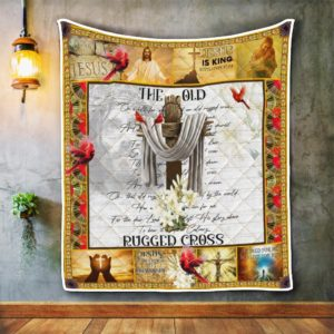 The Old Rugged Cross. Cardinal Jesus Christian Quilt Blanket Great Customized Blanket Gifts For Birthday Christmas Thanksgiving