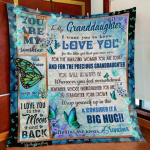 Personalized To My Granddaughter Always Be My Little Girl From Grandma Dark Green Butterflies Quilt Blanket Great Customized Blanket Gifts For Birthday Christmas Thanksgiving