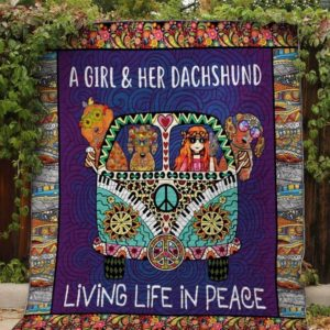 Dachshund Dog Drawing Living Life In Peace With A Girl On The Hippie Van Quilt Blanket Great Customized Blanket Gifts For Birthday Christmas Thanksgiving