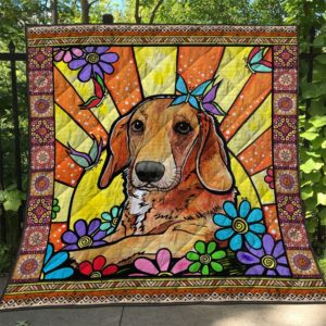 Brown Dachshund Morning Energy In Flowers Quilt Blanket Great Customized Blanket Gifts For Birthday Christmas Thanksgiving