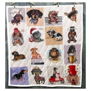 Dachshund Innocent Face Actions Quilt Blanket Great Customized Blanket Gifts For Birthday Christmas Thanksgiving