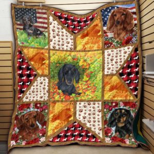 Brown Black And Tan Dachshund Floral Dogs Stars Made From Dogs Pictures Quilt Blanket Great Customized Blanket Gifts For Birthday Christmas Thanksgiving