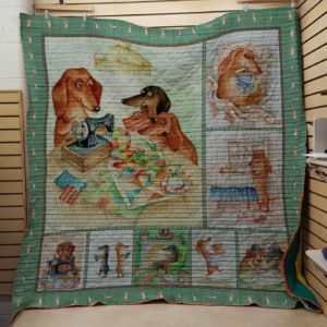 Dachshund Sewing Quilt Blanket Great Customized Blanket Gifts For Birthday Christmas Thanksgiving