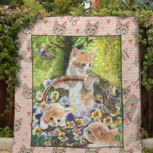 Lovely Cats And Flowers Quilt Blanket Great Customized Blanket Gifts For Birthday Christmas Thanksgiving