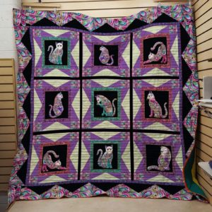 Purple Cats Actions Quilt Blanket Great Customized Blanket Gifts For Birthday Christmas Thanksgiving