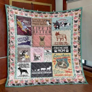 Life Is Better With A French Bulldog Evolution Of A Frenchie Lovely Dog Quilt Blanket Great Customized Blanket Gifts For Birthday Christmas Thanksgiving