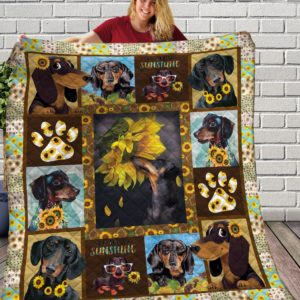 Dachshund Dog Drawing Black Sun Flower Emotion Small Dog With Short Legs Quilt Blanket Great Customized Blanket Gifts For Birthday Christmas Thanksgiving