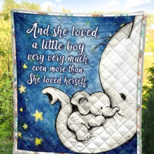 Animal Elephant And She Loved Little Boy Mom And Son Quilt Blanket Great Customized Blanket Gifts For Birthday Christmas Thanksgiving