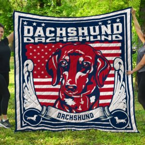 Dachshund Logo Red Face Dark Blue And White Quilt Blanket Great Customized Blanket Gifts For Birthday Christmas Thanksgiving