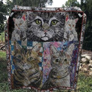 Cat Drawing Grey Cats Quilt Blanket Great Customized Blanket Gifts For Birthday Christmas Thanksgiving
