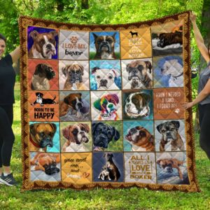 Boxer Dog Born To Be Happy I Love My Boxer Quilt Blanket Great Customized Blanket Gifts For Birthday Christmas Thanksgiving