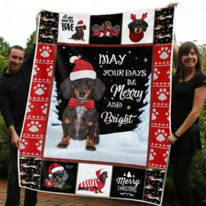 Dachshund And Snow May Your Days Merry And Bright Quilt Blanket Great Customized Blanket Gifts For Birthday Christmas Thanksgiving Anniversary