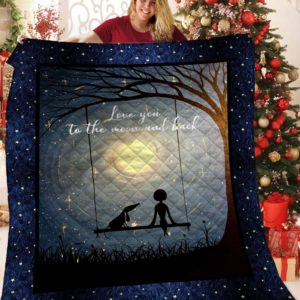 Dachshund Dog Drawing Love You To The Moon And Back Quilt Blanket Great Customized Blanket Gifts For Birthday Christmas Thanksgiving Anniversary