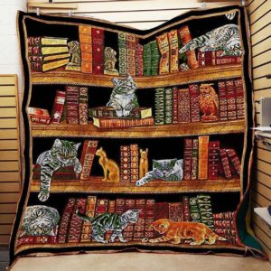 Cats Playing In The Bookshelf Quilt Blanket Great Customized Blanket Gifts For Birthday Christmas Thanksgiving