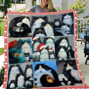 Shaggy Cats And Christmas Hats Quilt Blanket Great Customized Gifts For Birthday Christmas Thanksgiving Perfect Gifts For Cat Lover