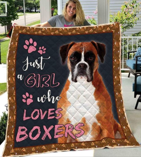 Boxer Just Girl Who Loves Boxers Beautiful Boxer Quilt Blanket Great Customized Blanket Gifts For Birthday Christmas Thanksgiving Anniversary