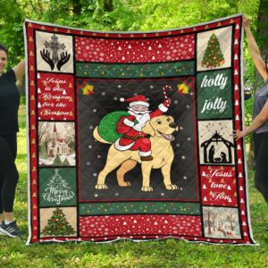 Labrador Retriever Dog And Santa Merry Christmas Quilt Blanket Great Customized Gifts For Birthday Christmas Thanksgiving Anniversary