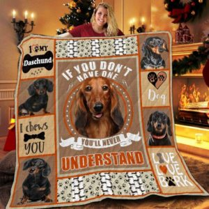 I Love My Dachshund I Chews You Quilt Blanket Great Customized Blanket Gifts For Birthday Christmas Thanksgiving
