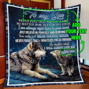Personalized Wolf Family To My Son I Will Always Love You From Mom Quilt Blanket Great Customized Blanket Gifts For Birthday Christmas Thanksgiving Anniversary
