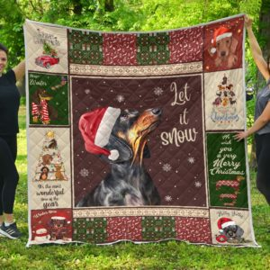 Dachshund Dog And Christmas Let It Snow Quilt Blanket Great Customized Blanket Gifts For Birthday Christmas Thanksgiving Anniversary