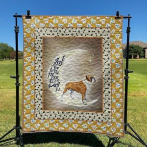 Boxer Dog I Love You To The Moon And Back Quilt Blanket Great Customized Blanket Gifts For Birthday Christmas Thanksgiving