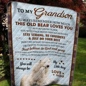 Personalized Polar Bear To My Grandson This Old Bear Loves You Quilt Blanket Great Customized Gifts For Birthday Christmas Thanksgiving Anniversary