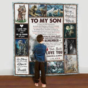 Personalized Wolf Family To My Son I Love You Forever And Always From Mom Quilt Blanket Great Customized Gifts For Birthday Christmas Thanksgiving Anniversary