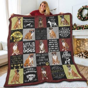 Boxer Dog Life Is Better With Dogs Quilt Blanket Great Customized Blanket Gifts For Birthday Christmas Thanksgiving Anniversary