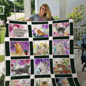 Cats With Flowers Quilt Blanket Great Customized Blanket Gifts For Birthday Christmas Thanksgiving Anniversary