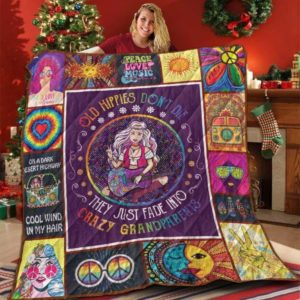 Hippie Girl Old Hippies Don't Die Quilt Blanket Great Customized Blanket Gifts For Birthday Christmas Thanksgiving