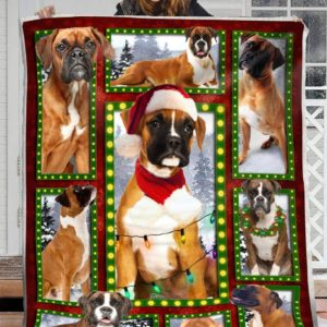 Boxer And Christmas Quilt Blanket Great Customized Blanket Gifts For Birthday Christmas Thanksgiving