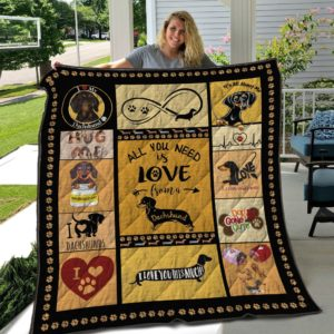 Dachshund Dog All You Needed Is Love From A Dachshund Quilt Blanket Great Customized Blanket Gifts For Birthday Christmas Thanksgiving