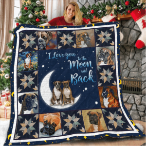 Boxer Couple Boxer I Love You To The Moon And Back Quilt Blanket Great Customized Blanket Gifts For Birthday Christmas Thanksgiving