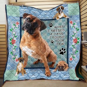 Boxer When I Need A Hand I Found Your Paw Quilt Blanket Great Customized Blanket Gifts For Birthday Christmas Thanksgiving