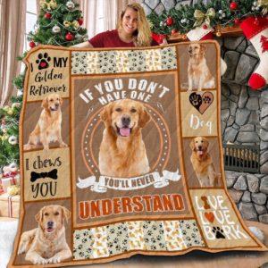 Golden Retriever Dog I Love My Golden Retriever Quilt Blanket Great Customized Blanket Gifts For Birthday Christmas Thanksgiving Anniversary